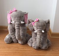 Free sample Grey Elephant Plush Baby Pillow Stuffed Toy for 2~8years old