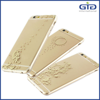 Electroplating Laser Carving IMD TPU Case with Diamond Inside for iPhone 6 plus