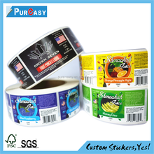 custom adhesive vinyl labels for food container