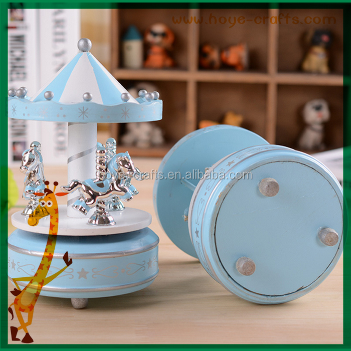 wooden baby gifts carousel Music Box blue color