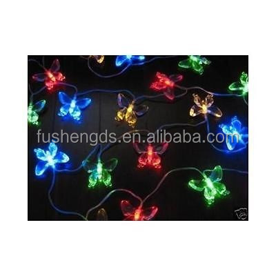 2016 new product custom 10 LED Solar Fairy String Light with Transparent Butterfly