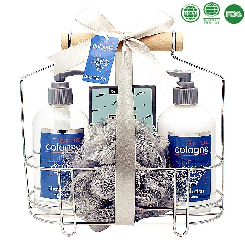 Men promotional spa gift set with whitening body lotion shower gel home necessary