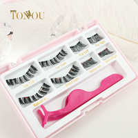Three magnet and dual magnet False Lashes with tweezer luxury magnetic eyelashes case for 8 pieces false eyelashes magnetic