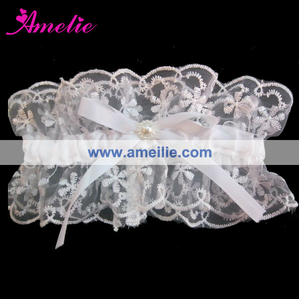 AG6910 White Embroidery Lace Garter for Sales