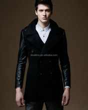 2016 Top Custom Factory of Men's Double Breasted Leather Sleeves Wool Coat