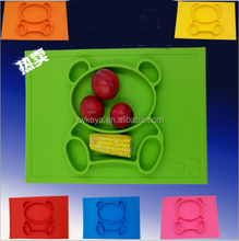 2017 NEW bear shape silicone placemat for kids,silicone placemat plate,kids dinner silicone baby placemat