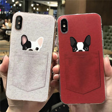3D cute couple dog pocket phone case for iphone x , all-inclusive embossment relievo for girls phone case for iphone 6/6s/6plus