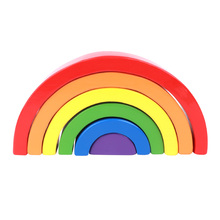 Wooden Rainbow Stacking Game Learning Toy Building Blocks Educational Toys for Kids