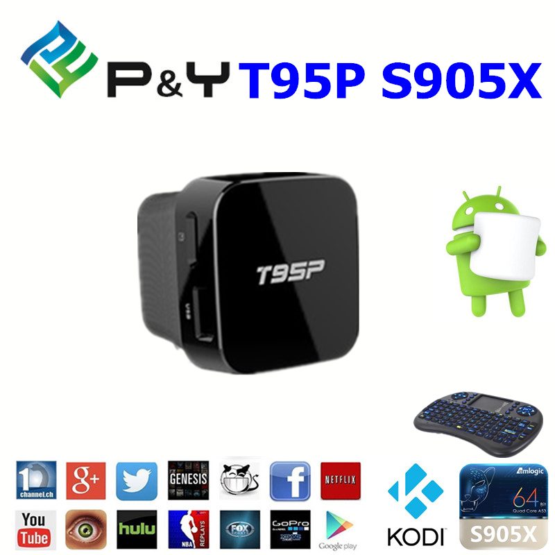 2016 New promotion T95P S905X 2G 8G google android 6.0 tv stick with CE&ISO KODI TV BOX