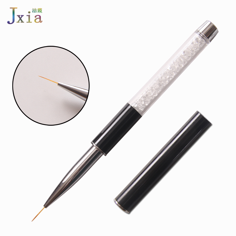 Black Metal Hand Extra Fine Thin Nail Art Drawing Manicure Pen Nail Liner Brush with Cap