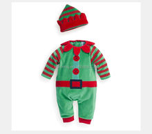 cute newborn one-piece green Christmas Baby Toddler Clothing with hat