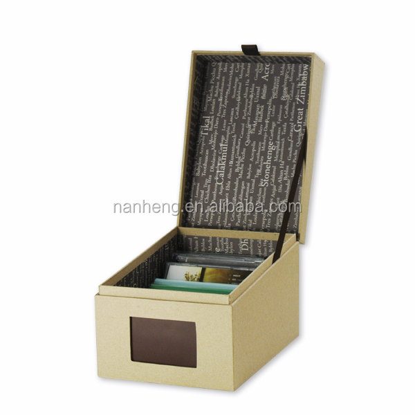 NAHAM eco friendly stackable divided cardboard CD/DVD storage box