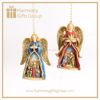 Christmas Nativity Angel Figures with Stable Scene Ornament