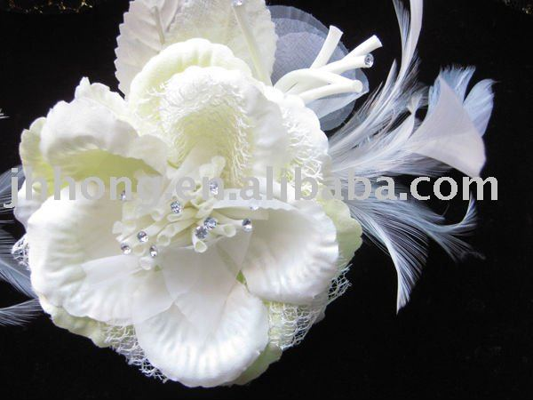 tulle flower with feather hair accessories decoration