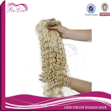 African American Human Hair Extensions Natural Blonde Curly Human Hair Extensions