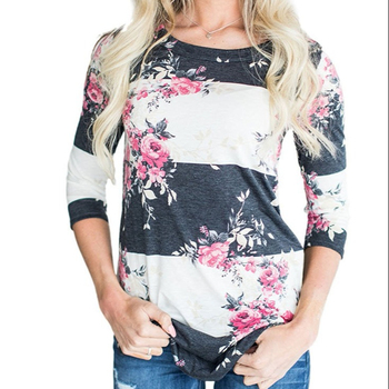 Womens Crew Neck 3 4 Sleeve Floral Printed Tunic Shirts Casual Color Block Blouses and Tops