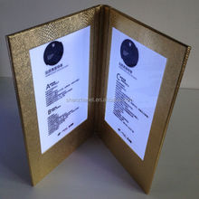 Hotel menu cards Cover Design Restaurant Leather led light holders led Custom Cover (Patent ZL201420483083.X, ZL201430306539.0)