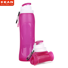 New BPA Free 500ML Foldable Water Bottle / LFGB FDA Good Quality 17oz Silicone Water Bottle