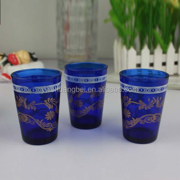 Printed Drinking Glass Cup Blue Colored Drinking Glass Cup Glass Drinkware Type Moroccan Tea Glasses