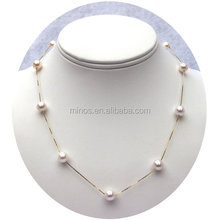 10k Yellow Gold Freshwater Pearl Tin Cup Necklace,Pearl Chain Necklace Designs Bridal
