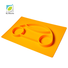 RJSILICONE FDA/FLGB non-stick portable one piece baby silicone placemat plate for kids
