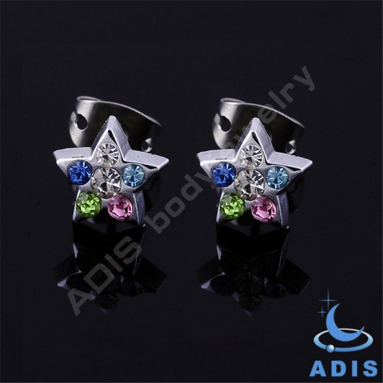 Star Zirconia Earrings glue Setting 316L Stainless Steel Ear Piercing Studs