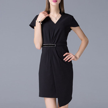 New fashion 2017 black gathering waist women elegant mini office dress