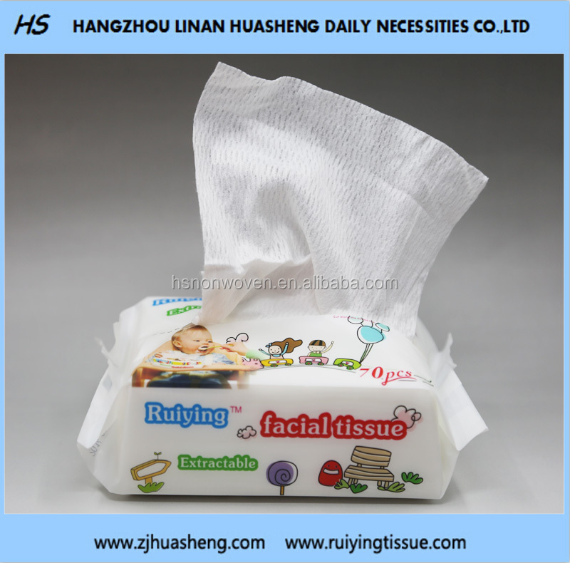 Degradable Baby Dry Tissue 100% cotton HS503 Extractible Pack Tissue Dry&Wet Use