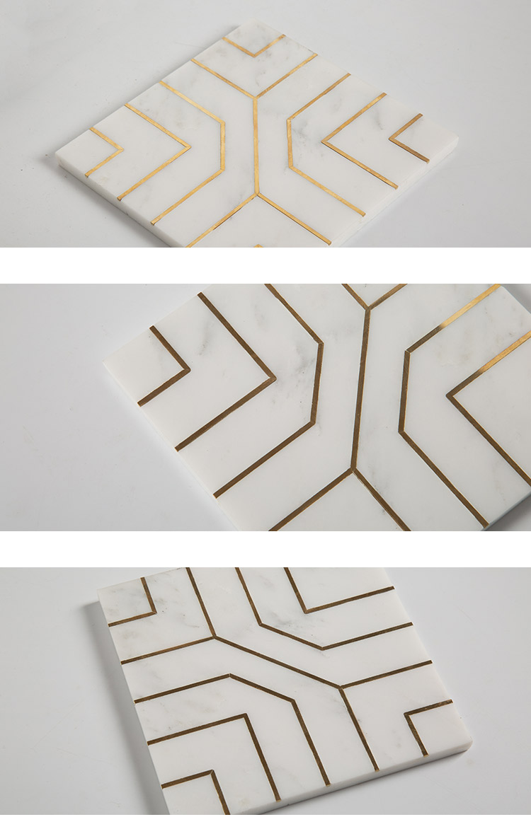 New Trendy Flooring Design Marble Tile With Gold Inlay