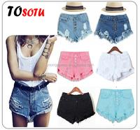 WH91 women 2015 high waist denim shorts candy-colored retro shorts