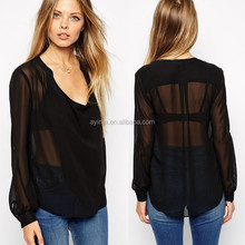 hot sale fashion girls hot sexy blouse new designed plain black chiffon sheer blouse