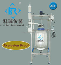 SF Series 1-200L Chemical Glass Jacketed Reactor with China Manufacturer price, Explosion proof optional