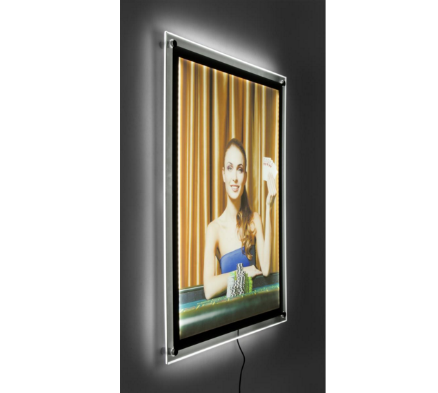 Acrylic wall mount advertising LED light photo frame picture frame display