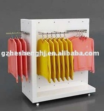 hot sale store and supermarket metal steel with castor garments display rack