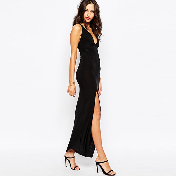 plus size dresses Spaghetti high slit sexy clothes for big women