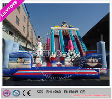 Commercial giant inflatable slide with climbing wall, inflatable bouncer slide, inflatable slide combo