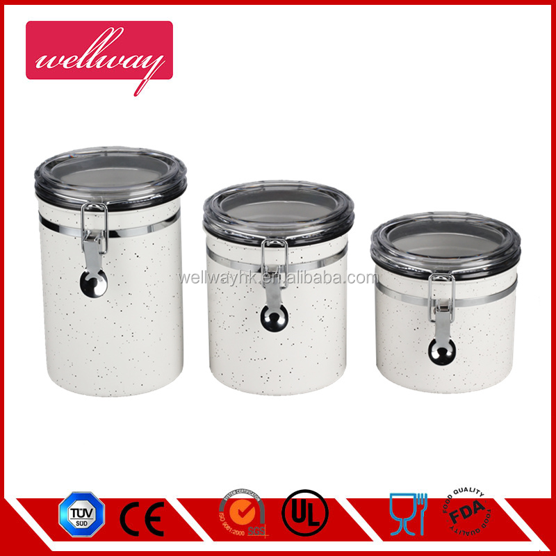 Transparent Acrylic 3pcs Sealed Cans Canister Set With Lock Pot