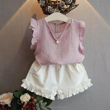 2017 new Summer Girl dot chiffon dress suits children chiffon fly sleeve T-shirt + bowknot skirt 2pcs suit baby party clothes