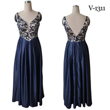 Plus size women's new design navy stain with embroidery long evening dress V-1131