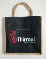 Jute black color bag with print in red color and white color 2015