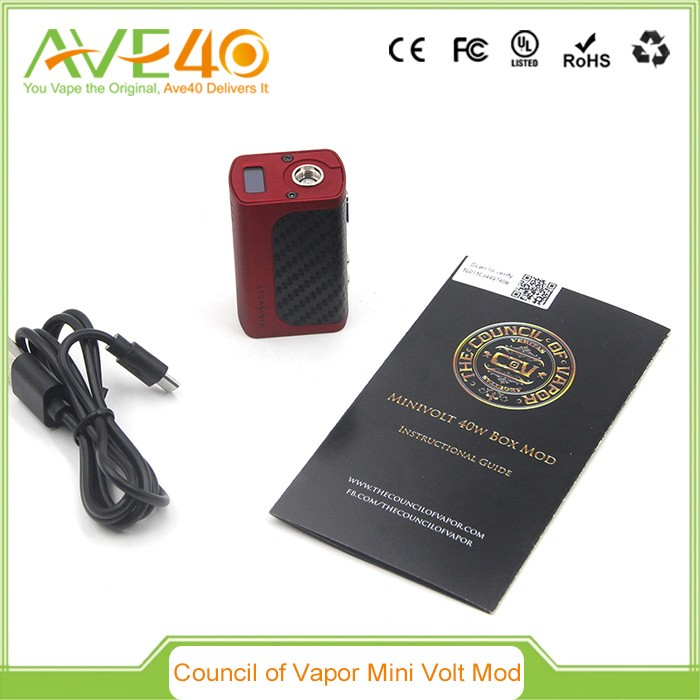 2016 AVE40 Latest vaporizer wholesale original e cigarette vape box mod mini volt 40W mod By the Council of vapor