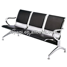 Popular 3-seater PU cushion steel gang chair YA-25