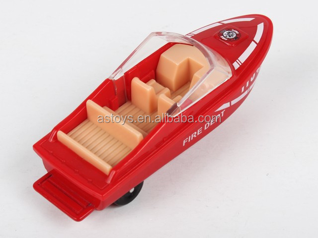 2017 trending 1:72 free wheel mini alloy diecast fire toy boat with high quality
