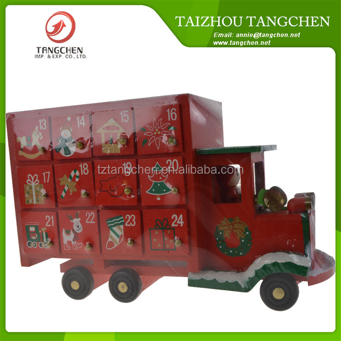 Hot Sale Christmas Gift Wooden Advent Calendar Train Decoration with 24 Drawers