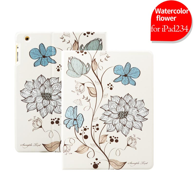 Drop resistance Ultra thin magnetic shockproof sleep/wake fuction color printing tablet case for Apple Ipad 234 cover