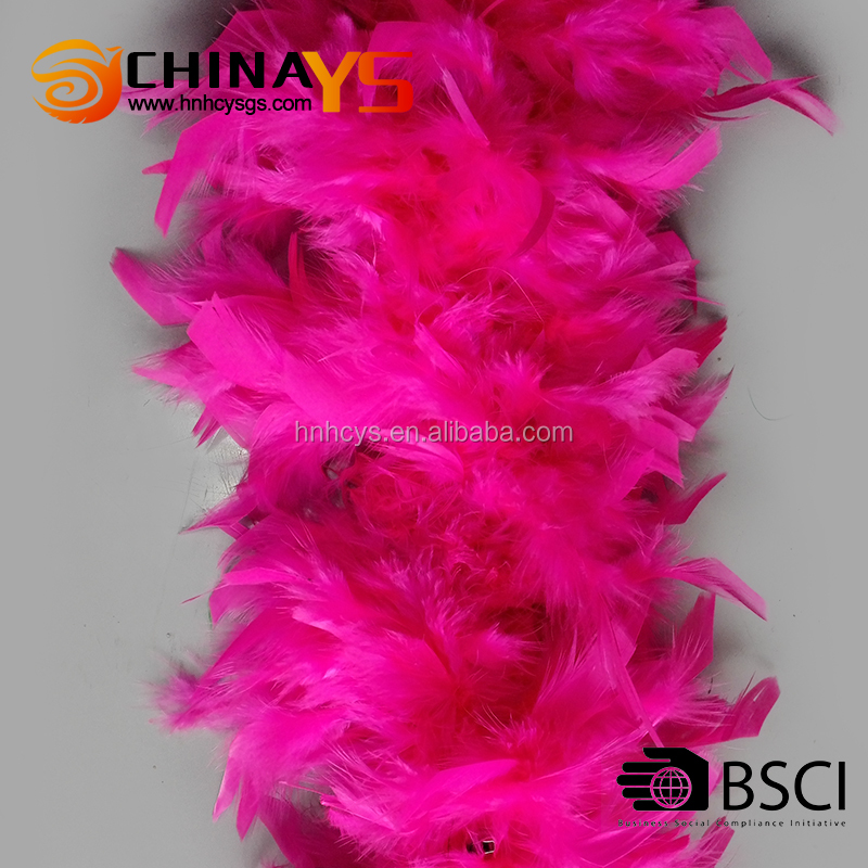BSCI Hot selling first class Turkey Chandelle fuchsia boa feathers 1.8meters 60grams