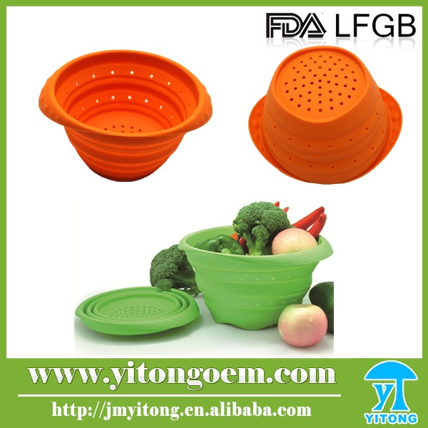 Colorful cheap 100%food grade silicone strainers kitchen items