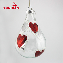 Factory wholesale hand blown decorative clear christmas ball glass drop ornaments