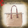 design for 2014 vintage tote bag wash canvas bags with leather handle