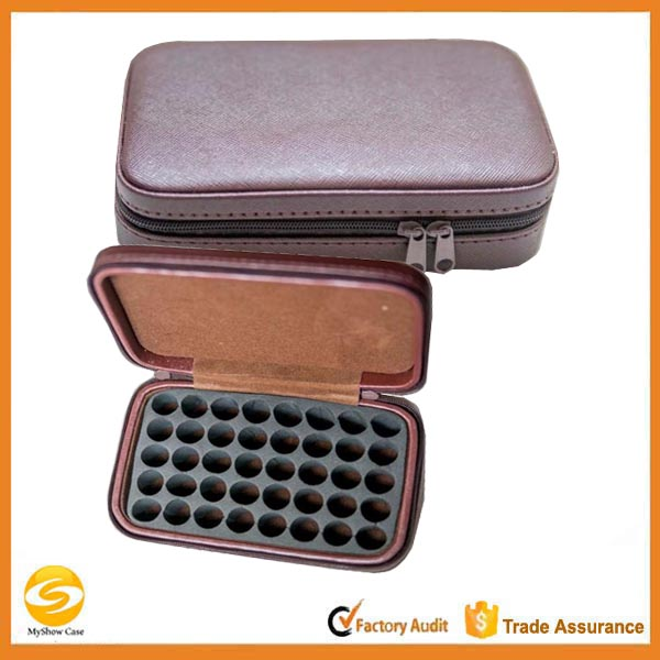 custom high quality hard shell Leather Essential Oils Carrying Cases,40 bottles Essential oil travel storage boxes